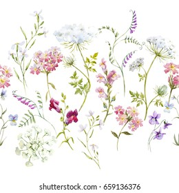 Watercolor floral pattern, delicate flower wallpaper, wildflowers pink,tansy, pansies. white flowers queen anne's lace. retro. Horizontal pattern