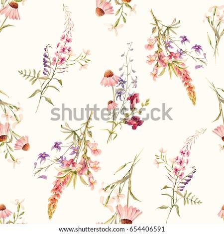 20eb8d55d Watercolor Floral Pattern Delicate Flower Summer Arkiv Illustrasjon ...