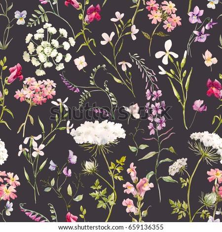 5678a118c Watercolor Floral Pattern Delicate Flower Wallpaper ...