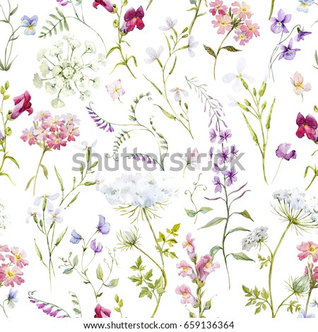 Watercolor floral pattern delicate flower wallpaper stock watercolor floral pattern delicate flower wallpaper wildflowers pinktansy pansies white mightylinksfo