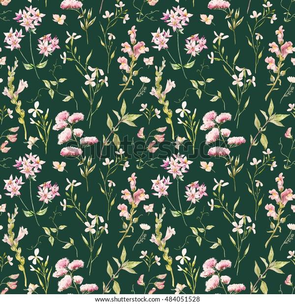Watercolor Floral Pattern Delicate Flower Wallpaper Stock