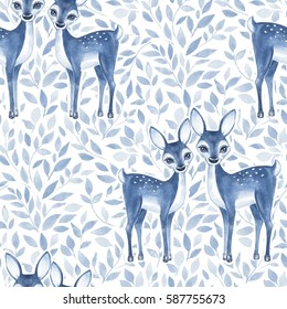 Watercolor floral pattern with fawns. Blue color