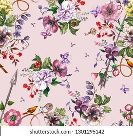 Watercolor floral pattern with flowers of peonies, violet, butterflies, berries, birds and with an elven arrow, lock, key and with a pink background.