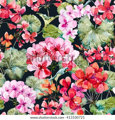 Watercolor floral pattern geranium dark background stock watercolor floral pattern geranium dark background delicate floral wallpaper mightylinksfo