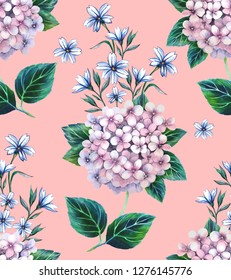 Watercolor floral pattern with hortensia flowers and with a pink background.