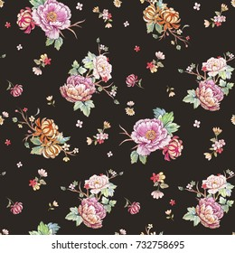 Watercolor floral pattern, peony flowers, orange chrysanthemum, leaves and sakura branches. gentle Japanese pattern. cherry blossom wallpaper.  dark background