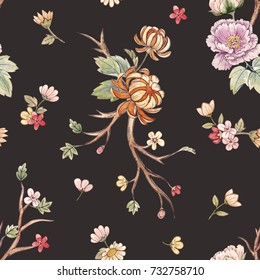 Watercolor floral pattern, peony flowers, orange chrysanthemum, leaves and sakura branches.  gentle Japanese pattern. cherry blossom wallpaper.  retro colors