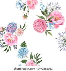 Watercolor floral pattern, Pink and blue hydrangea, allium, Pink peony. Floral seamless spring wallpaper