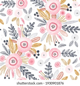 Watercolor floral pattern with pink, gold  and gray flowers, leaves, berries. Perfect for fabric, textile, apparel.