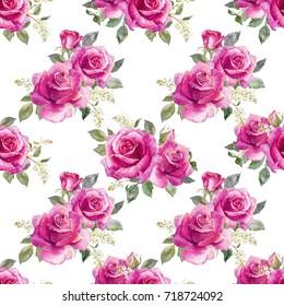 Watercolor floral pattern pink  rose, berries snowflake