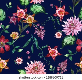 Watercolor floral pattern with pions flowers and with dark blue background.