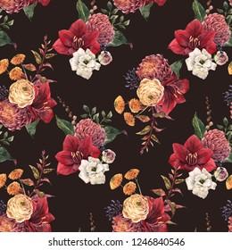 Watercolor floral pattern, red amaryllis flowers, yellow ranunculus, leaves, chrysanthemum. Autumn wallpaper. dark background