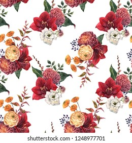 Watercolor floral pattern, red amaryllis flowers, yellow ranunculus, leaves, chrysanthemum. Autumn wallpaper