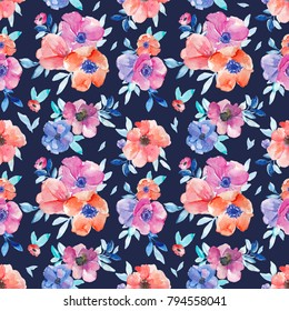 Watercolor Floral Pattern with Red and Purple Flowers on Navy Blue Background