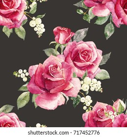 Watercolor floral pattern red rose, berries snowflake. dark retro background