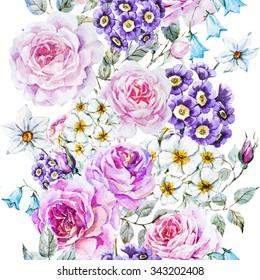 watercolor floral pattern with rose, primrose, bluebell. vintage floral wallpaper. Floral design, vertical lines,