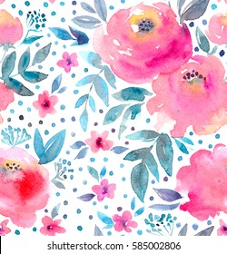 Watercolor floral pattern and seamless background.  Hand painted. Gentle design for fabric, wrap paper or wallpaper. Raster illustration.