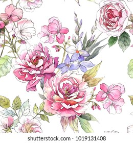 Watercolor floral pattern. Seamless pattern with purple and pink bouquet on white background. Peonies and roses.