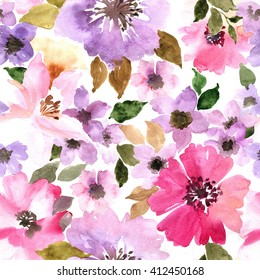 Watercolor floral pattern. Seamless pattern with purple and pink flowers on white background.