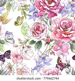Watercolor floral pattern. Seamless pattern with purple and pink bouquet, butterflies on white background. Meadow flowers. Peonies and roses.