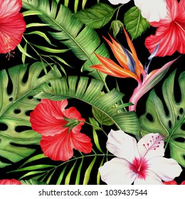Watercolor floral pattern with tropical flowers and leaves. Beautiful seamless background. Blooming jungle.