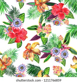 Watercolor floral pattern tropical flowers and plants. Collage watercolor elements flowers exotic hibiscus, passiflora, palm leaves on a white background. Amazing mix for holiday design.