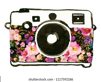 Watercolor Floral Photocamera Pink Red Purple Roses Peonis Isolated On White Background
