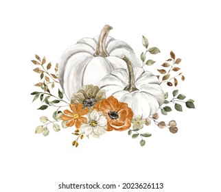 Watercolor floral pumpkins composition. Pastel pumpkin and flowers arrangement in rustic style. Rust and burnt orange flowers, fall foliage and leaves bouquet. Autumn invitation template.