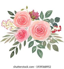 Watercolor floral rose leaves arrangement frame illustration wedding invitation