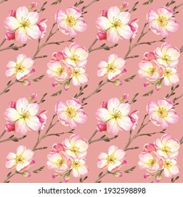 Watercolor floral seamless pattern with blooming apple tree. Design for fashion, clothing textiles, linen, wallpaper, wrapper.