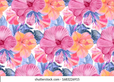 Watercolor floral seamless pattern. Blue leaves, pink Mallow flowers, pink and yellow Flower Marvel of Peru, False Jalap, Mirabilis jalapa, don Diego de noche, blooming and in buds.