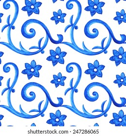 Watercolor floral seamless pattern with blue flowers, waves, swirl shapes on white background. Russian gzhel style