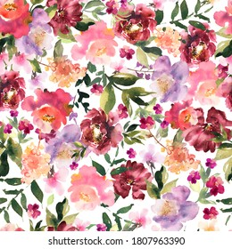 Watercolor floral seamless pattern with colorful hand drawn flowers and leaves. Blossom flowers for creating fabric and festive, wedding packaging