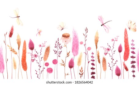 Watercolor floral seamless pattern with colorful wildflowers, flying butterflies and dragonflies. Panoramic horizontal border, summer meadow, banner, background for greeting, invitation card, wedding.