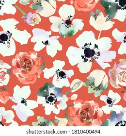 Watercolor floral seamless pattern. Ditsy of anemones, daisy flowers and roses buds. Simple botanical texture in vintage style. Summer spring motif. Tender colored.