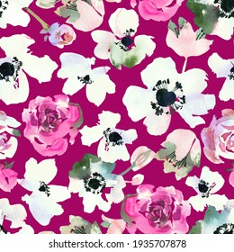 Watercolor floral seamless pattern. Ditsy of anemones, daisy flowers and roses buds. Simple botanical texture in vintage style. Summer spring motif.