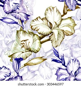 Watercolor Floral seamless pattern with flowers and leaves on white background