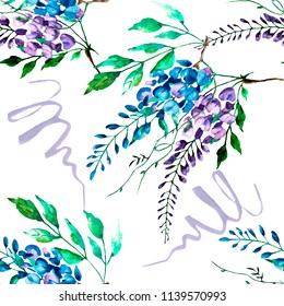 Watercolor floral seamless pattern. Hand painted flowers wisteria, leaves.  Background, wallpaper, texture design.