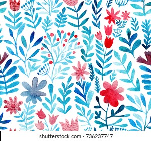 Watercolor floral seamless pattern. Handdrawn botanical backdrop