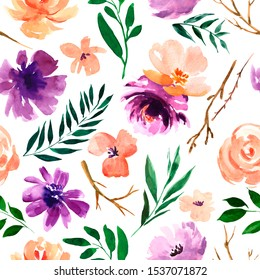 Watercolor floral seamless pattern in a la prima style, watercolor flowers, twigs, leaves, buds. Hand painted floral illustration.