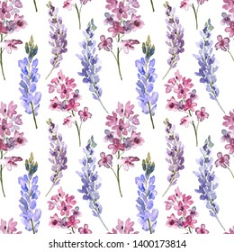 Watercolor floral seamless pattern. Lilac, lavender, lupine hand painted branches in vintage style. Colorful provance flowers on white background. Floral seamless print with watercolor lilac flowers.