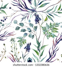 Watercolor Floral Seamless Pattern made of Silver Eucalyptus, Italian Ruscus, Fern, Shepherd's Purse, Privet berries. Drawn Greenery and Foliage Decoration in Botanical Vintage Style Isolated on White