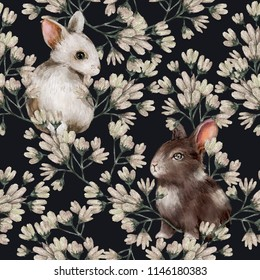 Watercolor floral seamless pattern with rabbits. Perfect for the design of postcards, wallpapers, printing on fabric  and so on.