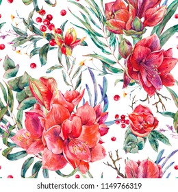 Watercolor floral seamless pattern of red flowers, Amaryllis, eucalyptus, tropical leaves and succulents, botanical natural vintage illustration on white background