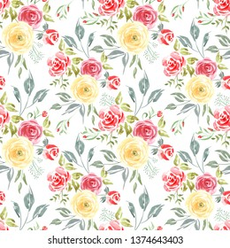 Watercolor Floral seamless pattern of Roses. Ñolorful Aquarelle art hand paint botanical Red and Yellow flower on a white background for your design wrapping, wrapper, fashion fabric cloth and etc.