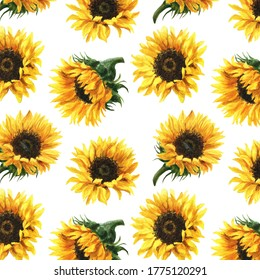 Watercolor floral seamless pattern of sunflowers. Design for fashion, clothing textiles, linen, wallpaper, wrapper.
