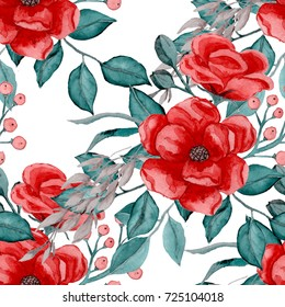 Watercolor floral seamless pattern.Vintage texture.
