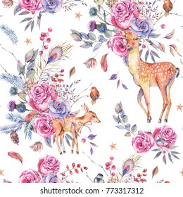 Watercolor floral semless pattern with cute deer, fawn, vintage roses, thistles, twigs, spruce branches, birds, berries and leaves on white background, Natural winter decoration, Holiday illustration