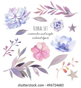 Watercolor floral set. Hand drawn botanical elements, flowers, branches, leaves and berries isolated on white background. Gray and pink design collection.
