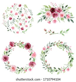 Watercolor floral set with wreaths  flowers. Pink and burgundy roses hand drawing. Isolated on white. Perfectly for print design greeting card, wedding decoration, poster.